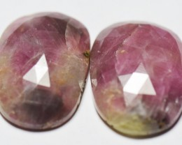 Pair of Ruby Gemstone Carvings 38.5ct 21mm