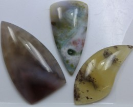 111.50 CTS  - 3 PCS AGATE POLISHED STONE PARCEL