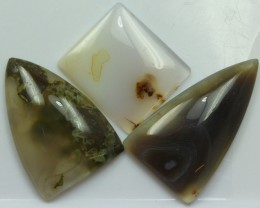75.70 CTS  - 3 PCS AGATE POLISHED STONE PARCEL