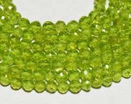 4mm PERIDOT round faceted beads 14 inch line