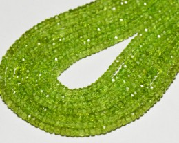 "AAA PERIDOT Israeli faceted beads 13"" line 4mm per001"