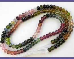AAA+ MULTI-COLORED 3.5-4MM TOURMALINE ROUNDELS-JUST GLORIOU!