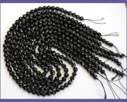 BEAUTIFUL AAA 6.00MM DYED BLACK ONYX FACETED ROUND BEADS!!