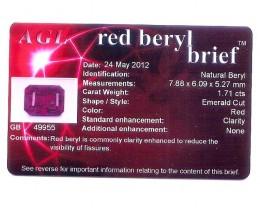 RED BERYL UTAH CERTIFIED 1.71  CTS