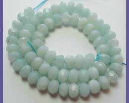 AA+ FABULOUS 5X8MM AMAZONITE FACETED ROUNDEL BEAD STRAND!!