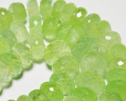 "8mm - 11mm faceted green PREHNITE gemstone beads 10"" line"