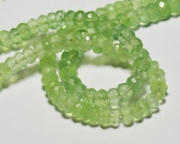 "9.5"" line 5mm - 5.5mm green faceted PREHNITE gemstone beads"
