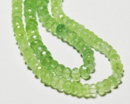 "PREHNITE faceted gemstone beads 9.5"" line 5mm - 5.5mm green faceted"