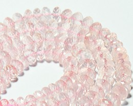 "6.5mm to 7mm ROSE QUARTZ faceted beads AAA 10"" 25cm line"