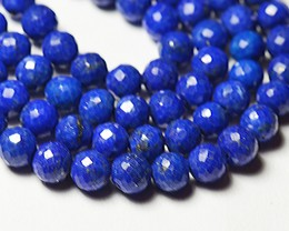 "16"" line 4mm 5.5mm Lapis blue round faceted beads lapb06"