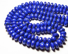 AAA 8mm - 9.5mm blue Lapis faceted rondelle beads 16
