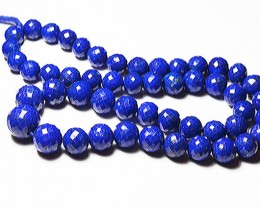 """AAA 7mm - 12mm round faceted blue Lapis beads 16"""" line"""