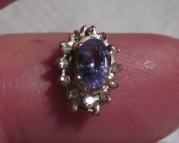 3 PC. TANZANITE & DIAMOND/9K GOLD/DAMAGED SETTINGS