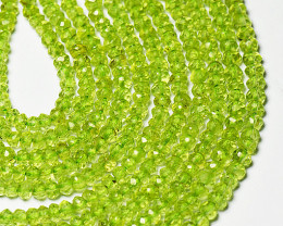 2.5mm to 3mm green Peridot faceted beads 14inch line per003