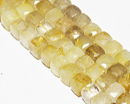 "10mm Golden RUTILE QUARTZ faceted cube beads 8"" rut003"