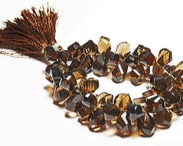 10mm - 17mm brown SMOKEY QUARTZ wave cut briolettes 59 gems