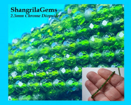 Chrome Diopside 2.5mm 13inch line 110 beads approx Natural gemstones from S