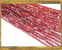 NEW ARRIVAL Deep Pink Hydrabad GARNET beads 13.5 in line 3mm