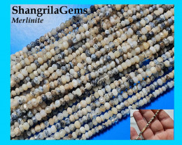 Dendritic Agate Merlinite Black White 3mm 14inch line faceted beads