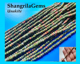 Unakite 3.25mm faceted beads pink orange green 14 inch line