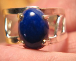 34cttw Beautiful Lapis Lazuli One Size Fits All Silver Ring