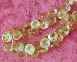 Golden Lemon Quartz onion shape briolettes 11mm - 12mm 8""