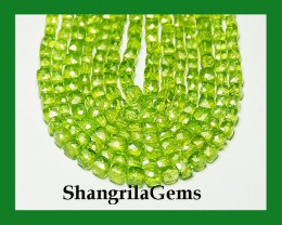 "NEW ITEM   9"" line 5 to 6mm Peridot box checker cut beads"