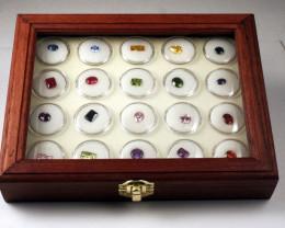 Gemstone & Gold Nugget Display Case  & 20 Gem Jar Inserts