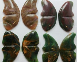 126 CTS BUTTERFLIES SHAPE CUT 4 PAIRS OF JASPER STONES