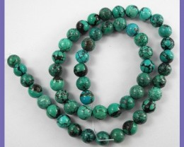 FABULOUS AAA 8.00MM NATURAL CHINESE ROUND TURQUOISE BEADS!!