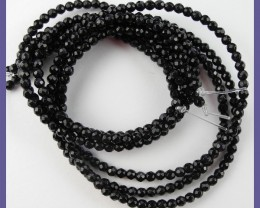 """AAA 3+MM (DYED) BLACK ONYX FACETED ROUND BEAD STRAND!!"""