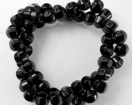 AAA BEAUTIFUL 8.00MM BLACK ONYX CARVED LANTERN BEADS!