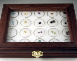 Natural Gemstone Collection in a Glass Lid Display Case