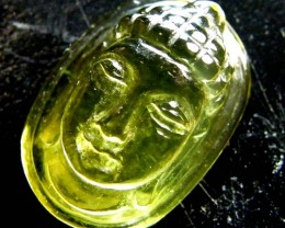 BUDDHA HEAD LEMON QUARTZ CARVING 11  CTS LT-704