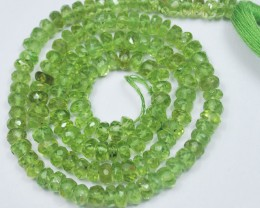 GREEN APPLE PERIDOT UNTREATED NATURAL FACETED RONDELLE BEADS