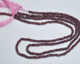 2 Strands of 13 Inches Natural Faceted Garnet Beads