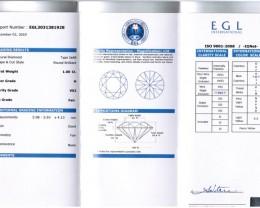 1.00ct Round Brilliant Diamond H-VS2 EGL CERTIFICATE NR