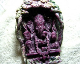 GANESH RUBY ZOISITE QUALITY CARVING OLD PC 1954   3650CTS
