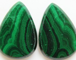 43.40 CTS MATCHED MALACHITE PAIR FLAT FACE CABS