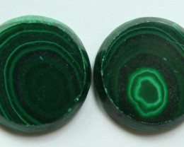 25.30 CTS MATCHED MALACHITE PAIR FLAT FACE CABS