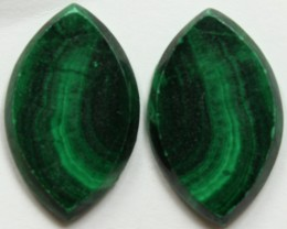 32.15 CTS MATCHED MALACHITE PAIR FLAT FACE CABS