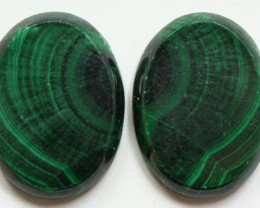 32.65 CTS MATCHED MALACHITE PAIR FLAT FACE CABS