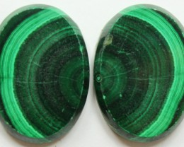 54.00 CTS MATCHED MALACHITE PAIR FLAT FACE CABS