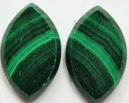 35.60 CTS MATCHED MALACHITE PAIR FLAT FACE CABS