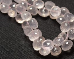 20 8mm ROSE QUARTZ onion shape briolettes AAA