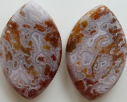 30.60  CTS CRAZE LACE AGATE PAIR FLAT CABS