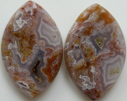 24.15  CTS CRAZE LACE AGATE PAIR FLAT CABS