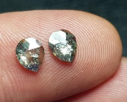 0.89ct pair Silver grey Salt and Pepper check cut diamonds 6.9 by 4.1 by 1.