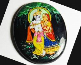 Hand painting of Gods Krishna & Radha on black onyx 67mm