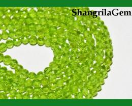 "AAA PERIDOT round faceted beads 14"" line 4mm PER002"